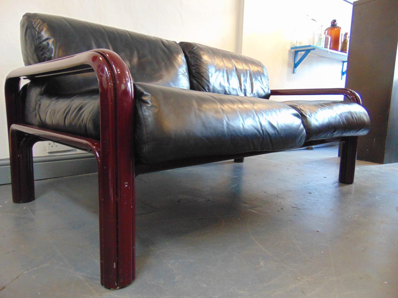 schwarzes leder sofa von gae aulenti f r knoll international bei pamono kaufen. Black Bedroom Furniture Sets. Home Design Ideas