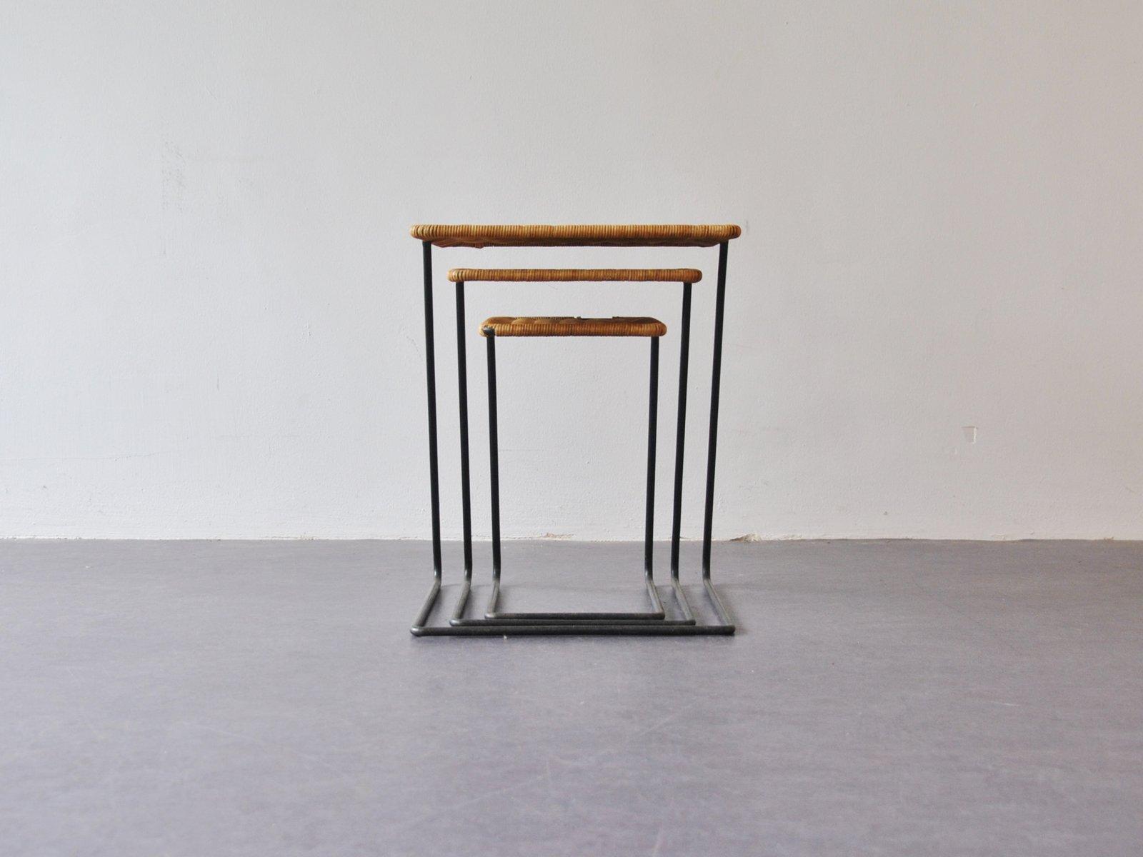 Vintage Modernist Rattan Nesting Tables, Set Of 3