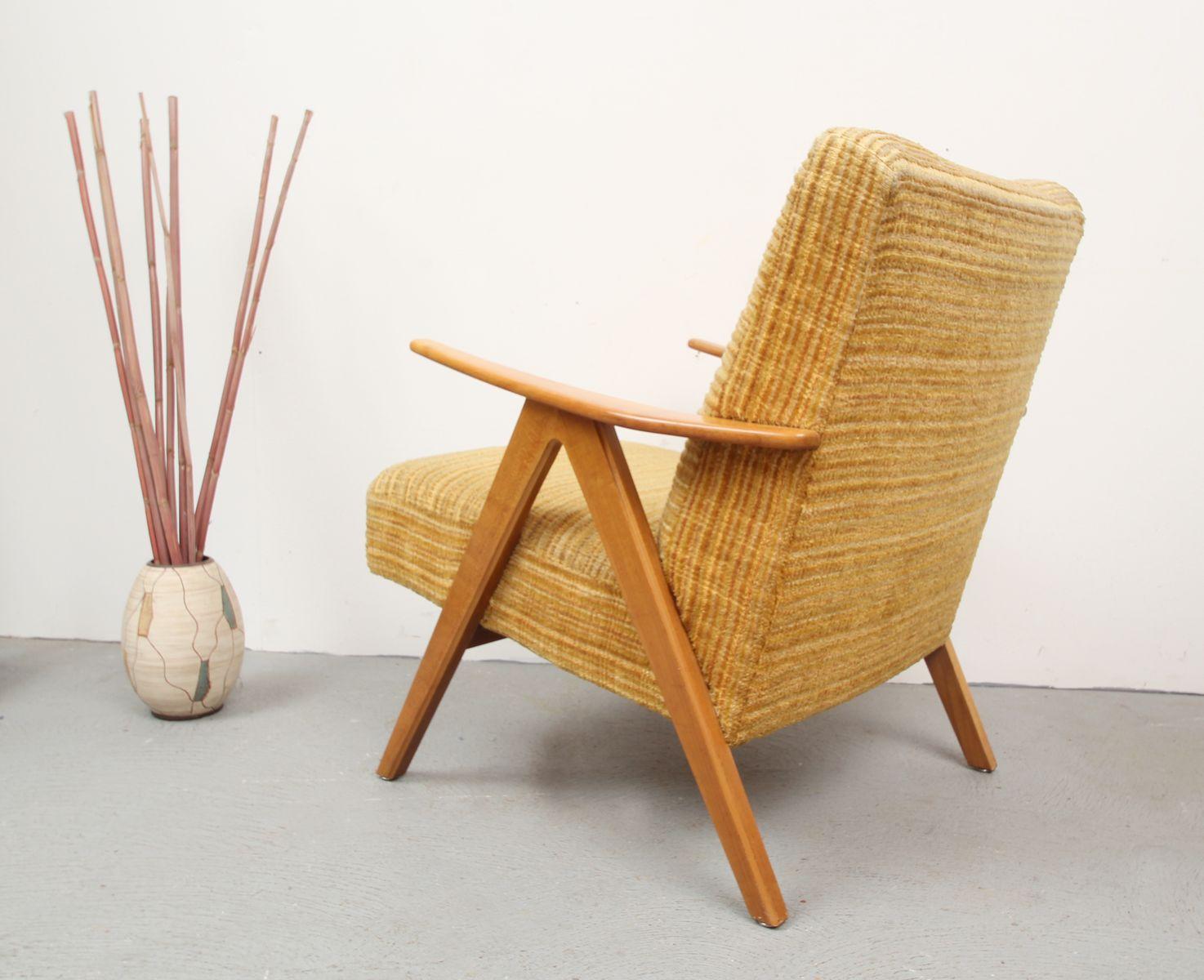 fauteuil vintage jaune en fr ne en vente sur pamono. Black Bedroom Furniture Sets. Home Design Ideas