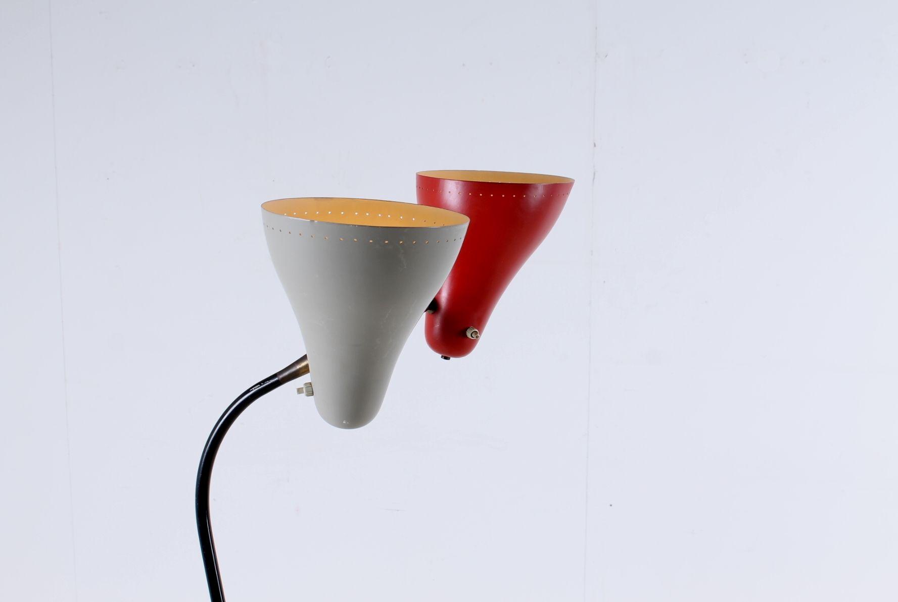 stehlampe mit doppeltem lampenschirm von j hoogervorst f r anvia bei pamono kaufen. Black Bedroom Furniture Sets. Home Design Ideas