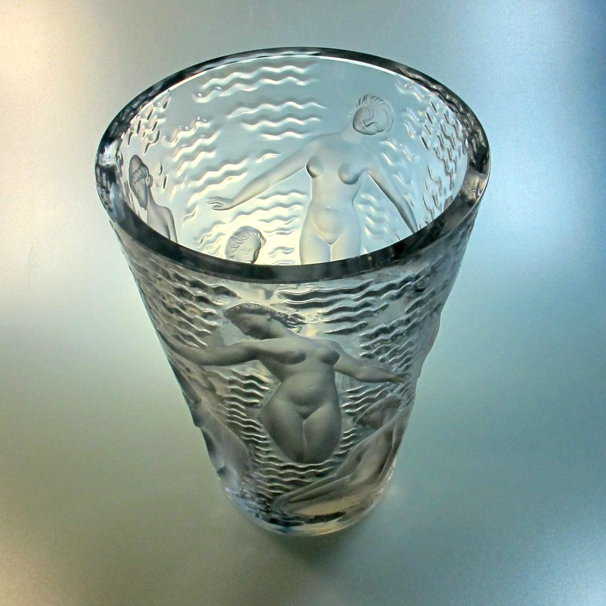 art deco crystal ondines vase by marc lalique for lalique for sale at pamono
