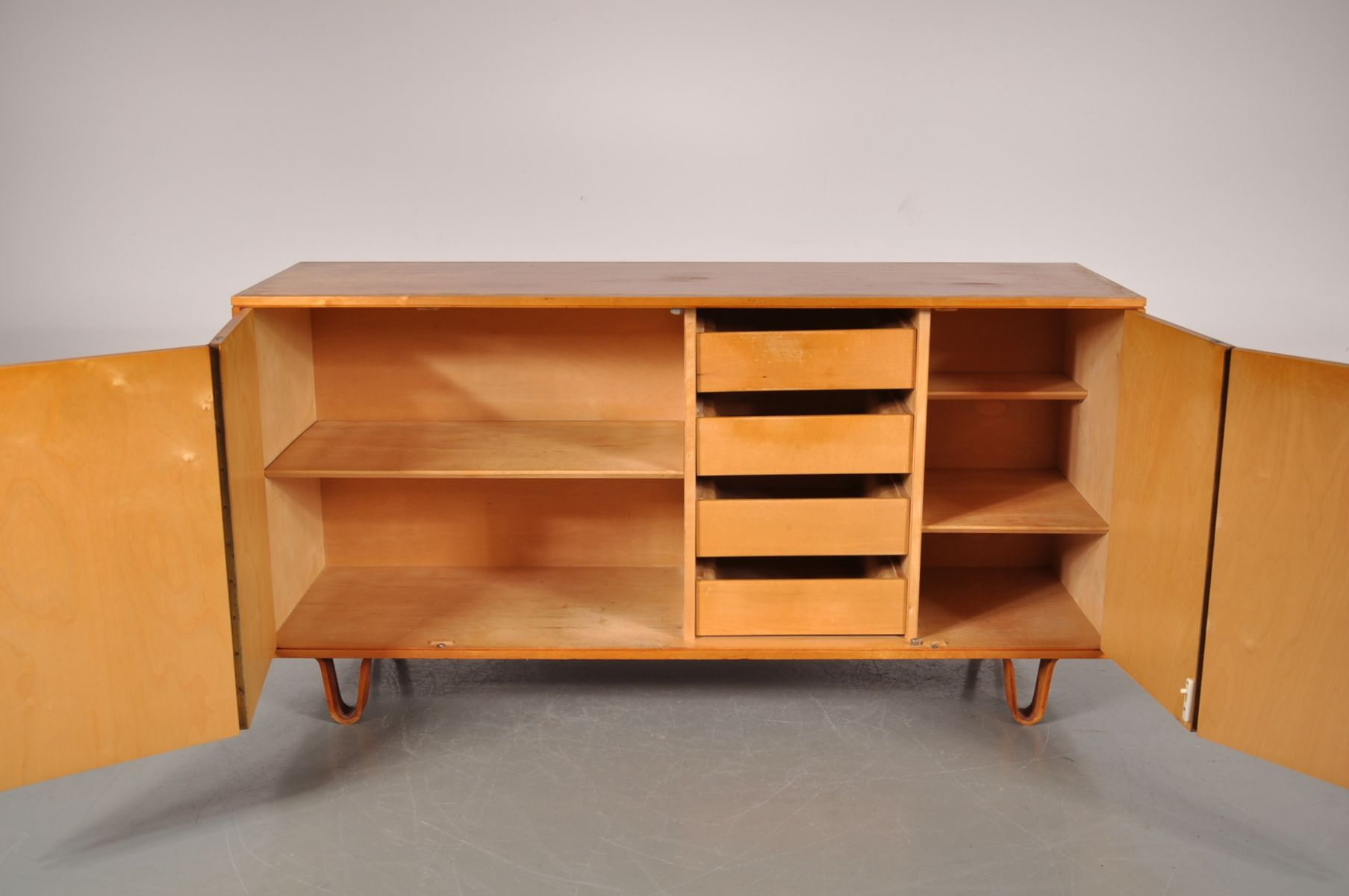 Birch Veneer Buffet ~ Model db mid century birch sideboard on plywood legs