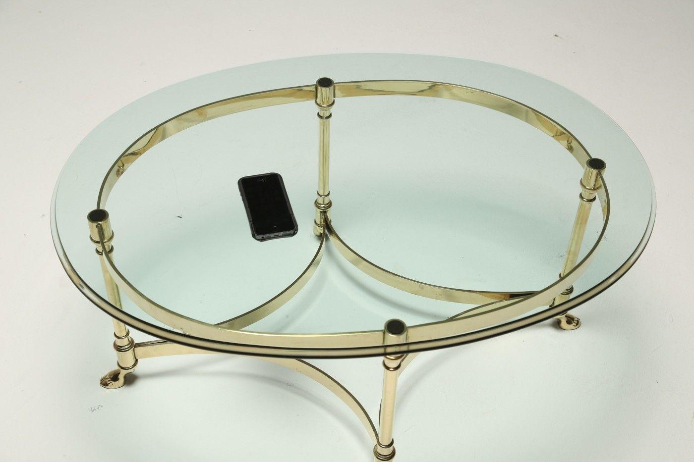 vintage glas couchtisch mit messing gestell von labarge bei pamono kaufen. Black Bedroom Furniture Sets. Home Design Ideas