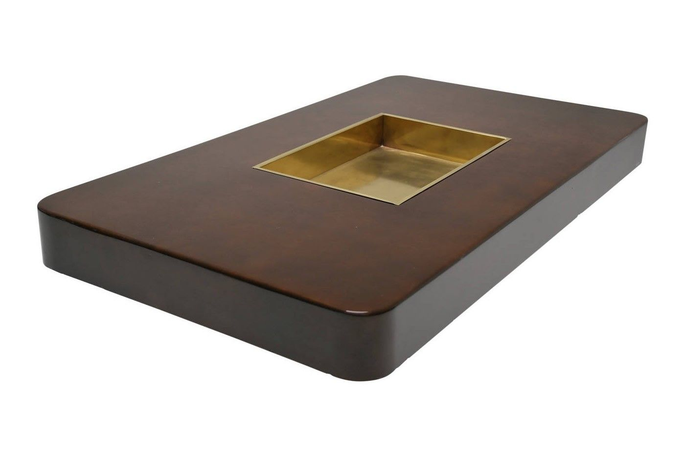 Vintage brown coffee table by willy rizzo for sale at pamono for Table willy rizzo