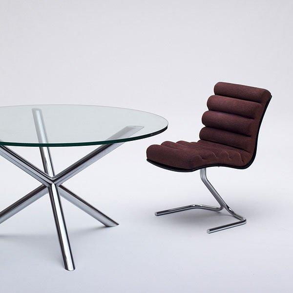vintage glas chrom esstisch bei pamono kaufen. Black Bedroom Furniture Sets. Home Design Ideas