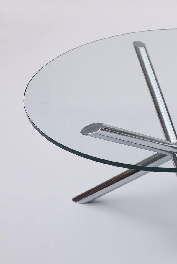 Vintage Glass Amp Chrome Dining Table For Sale At Pamono