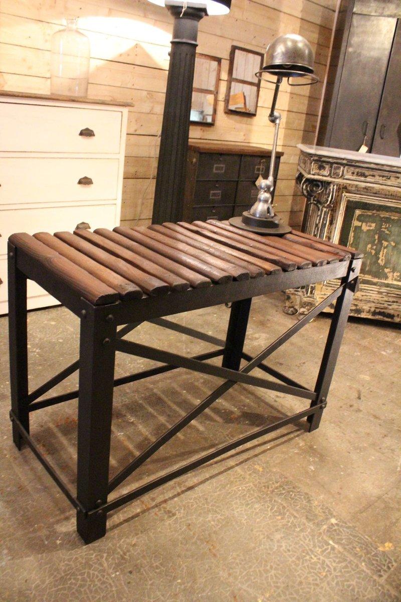 industrieller holz und metall konsolentisch bei pamono kaufen. Black Bedroom Furniture Sets. Home Design Ideas