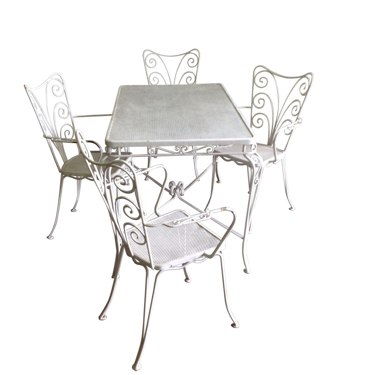 white garden table and garden chairs set of 5 for sale at