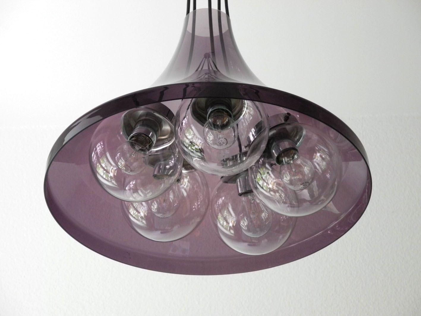 Deckenleuchte aus glas und lila acryl bei pamono kaufen for Deckenleuchte glas