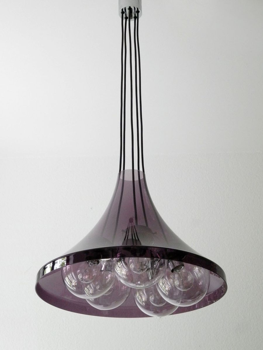 deckenleuchte aus glas und lila acryl bei pamono kaufen. Black Bedroom Furniture Sets. Home Design Ideas