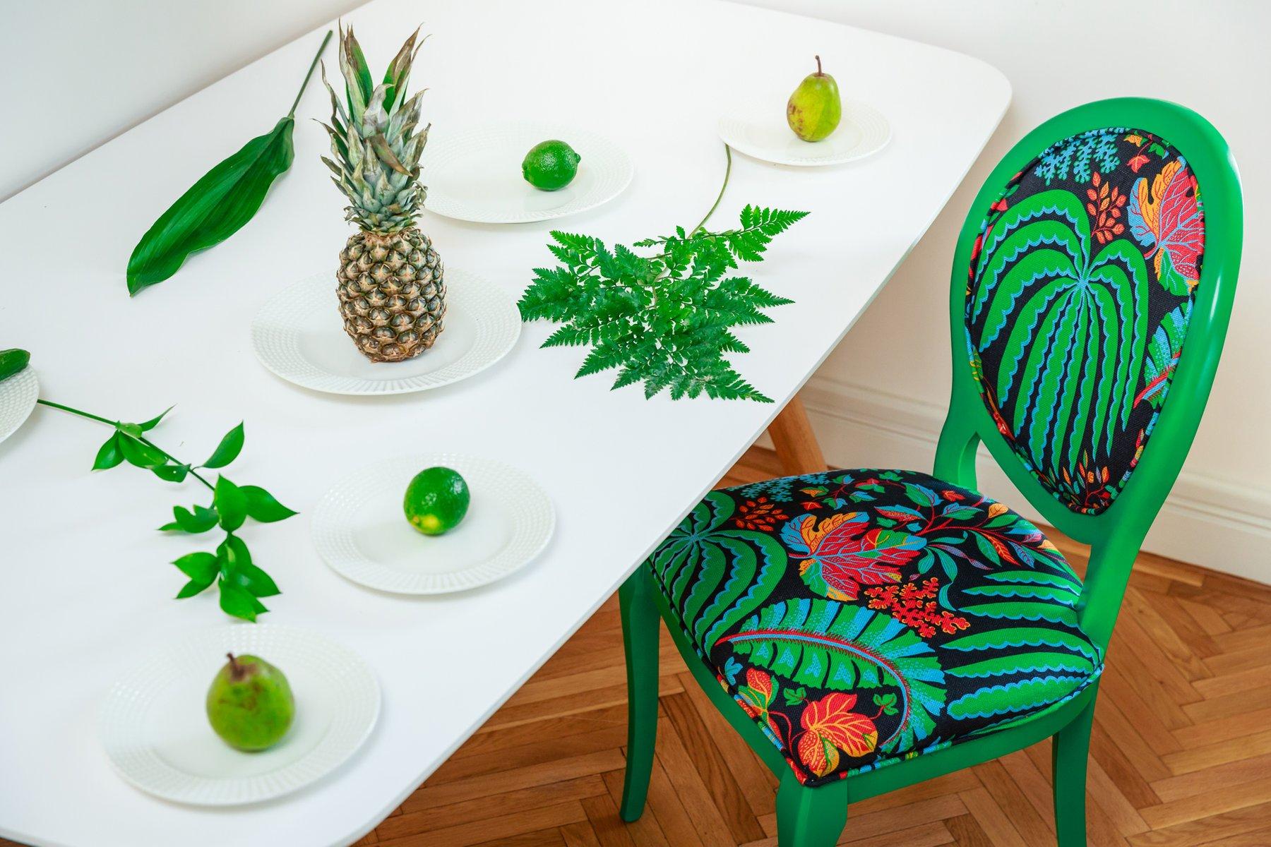 Beechwood Chair with Tropical Sanderson Fabric by liu 2015
