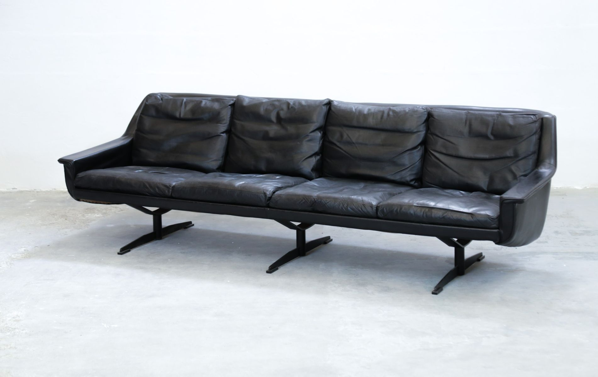 Scandinavian Black Leather Sofa For Sale At Pamono