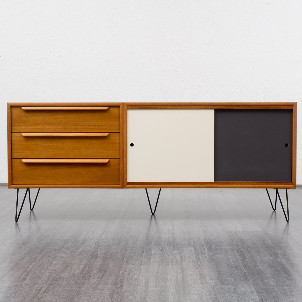 mid century teak sideboard by wk m bel 1960s for sale at. Black Bedroom Furniture Sets. Home Design Ideas