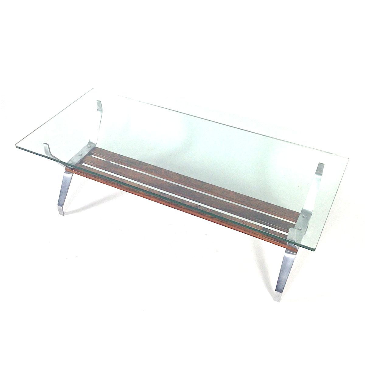 Italian Mid Century Rosewood Glass Coffee Table For Sale At Pamono