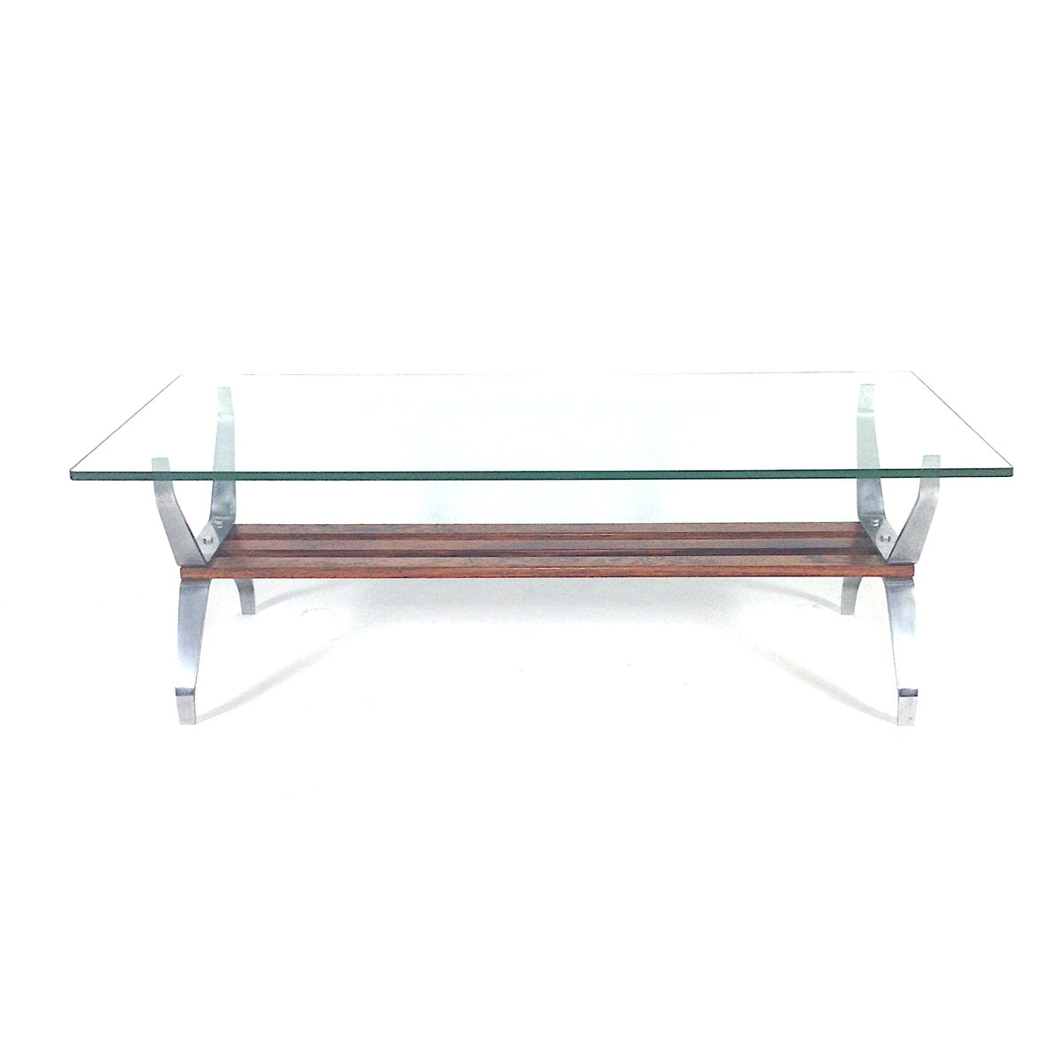 Italian Mid Century Rosewood & Glass Coffee Table For Sale
