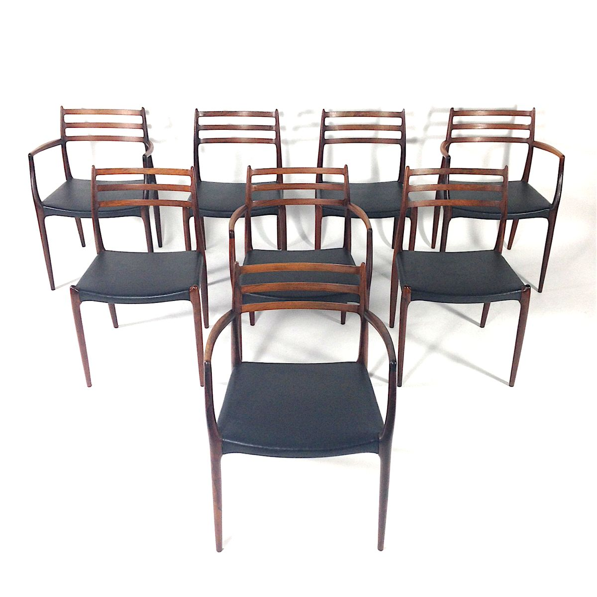Model rosewood dining chairs by niels o moller