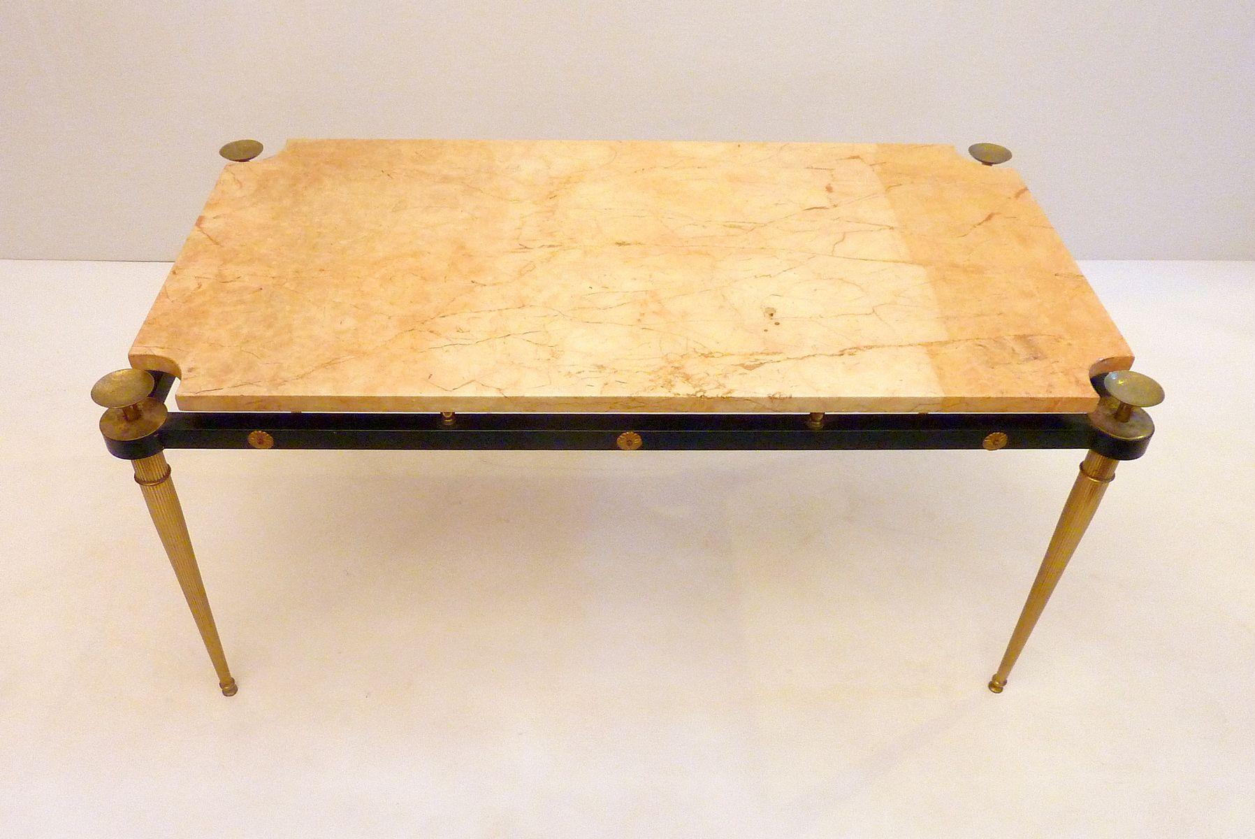 italienischer marmor messing couchtisch 1950er bei. Black Bedroom Furniture Sets. Home Design Ideas