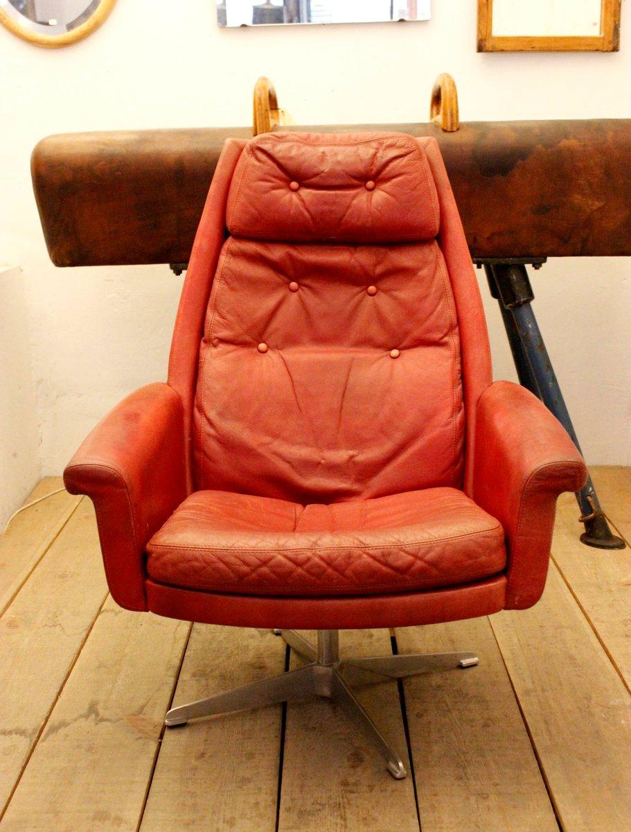 vintage burgundy leder drehsessel bei pamono kaufen. Black Bedroom Furniture Sets. Home Design Ideas