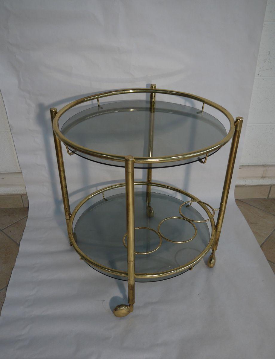 italienischer vintage messing und glas servierwagen bei pamono kaufen. Black Bedroom Furniture Sets. Home Design Ideas