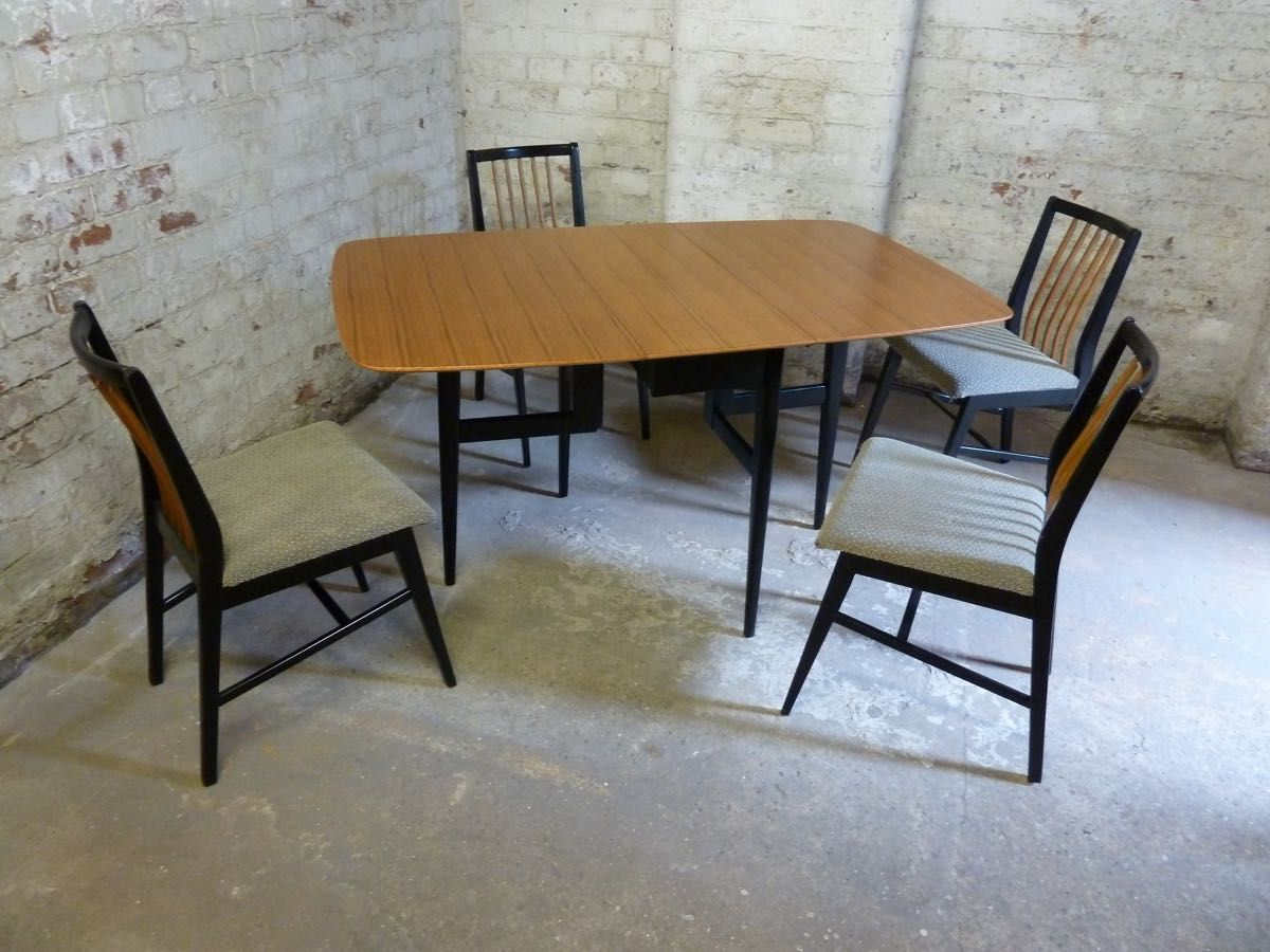 Teak Drop Leaf Table Dining Set 1950s For Sale At Pamono