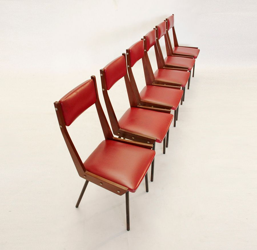 Vintage wooden italian dining chairs set of 6 for sale at for Wooden dining chairs for sale