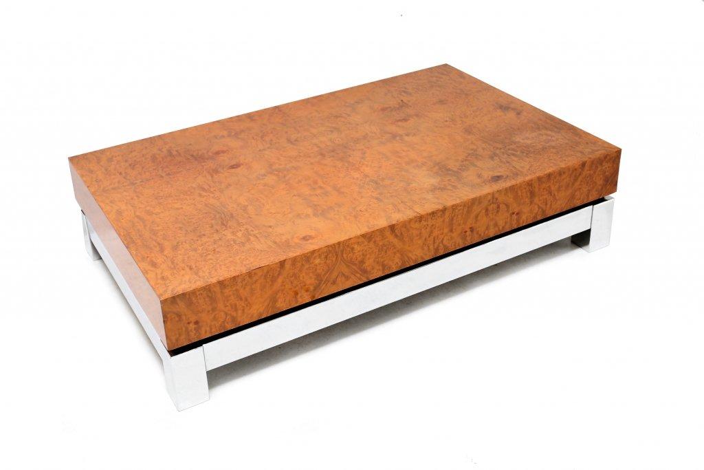 Burlwood Coffee Table By Jean Claude Mahey