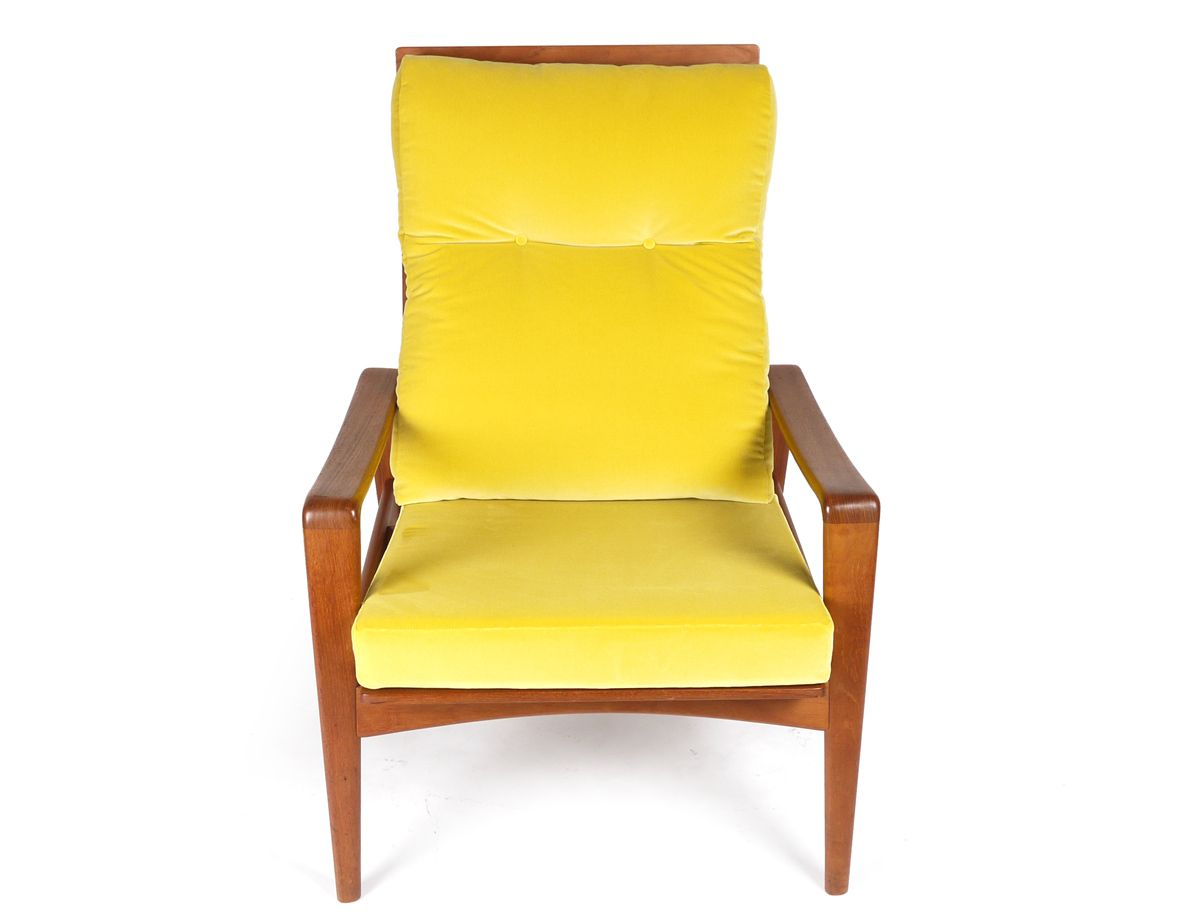 Yellow Velvet Lounge Chair and Stool by Poul Cadovious for sale at Pamono