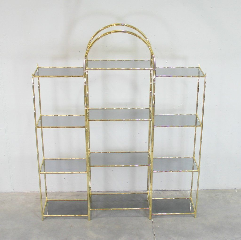 vintage glass and gold plated metal shelving unit for sale. Black Bedroom Furniture Sets. Home Design Ideas