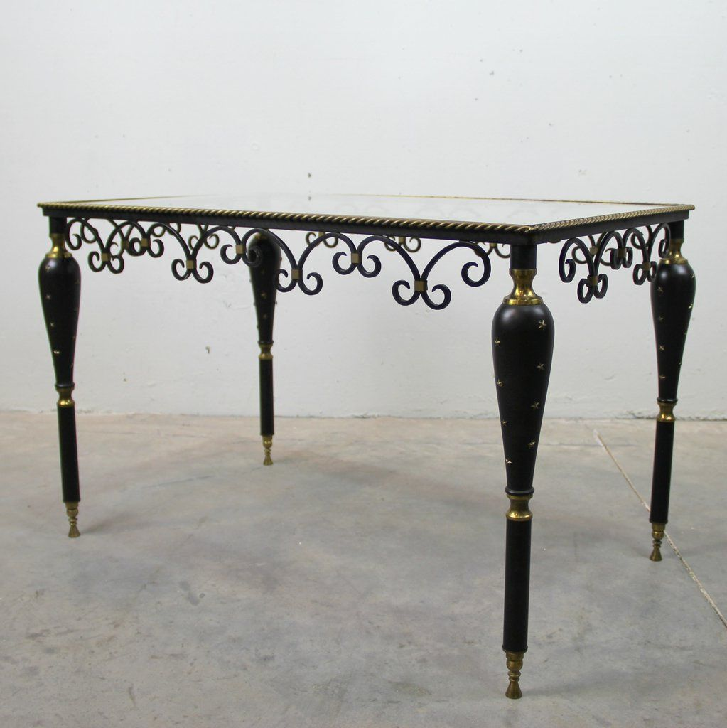 Metal and glass ornate side table 1950s for sale at pamono 28300 geotapseo Gallery