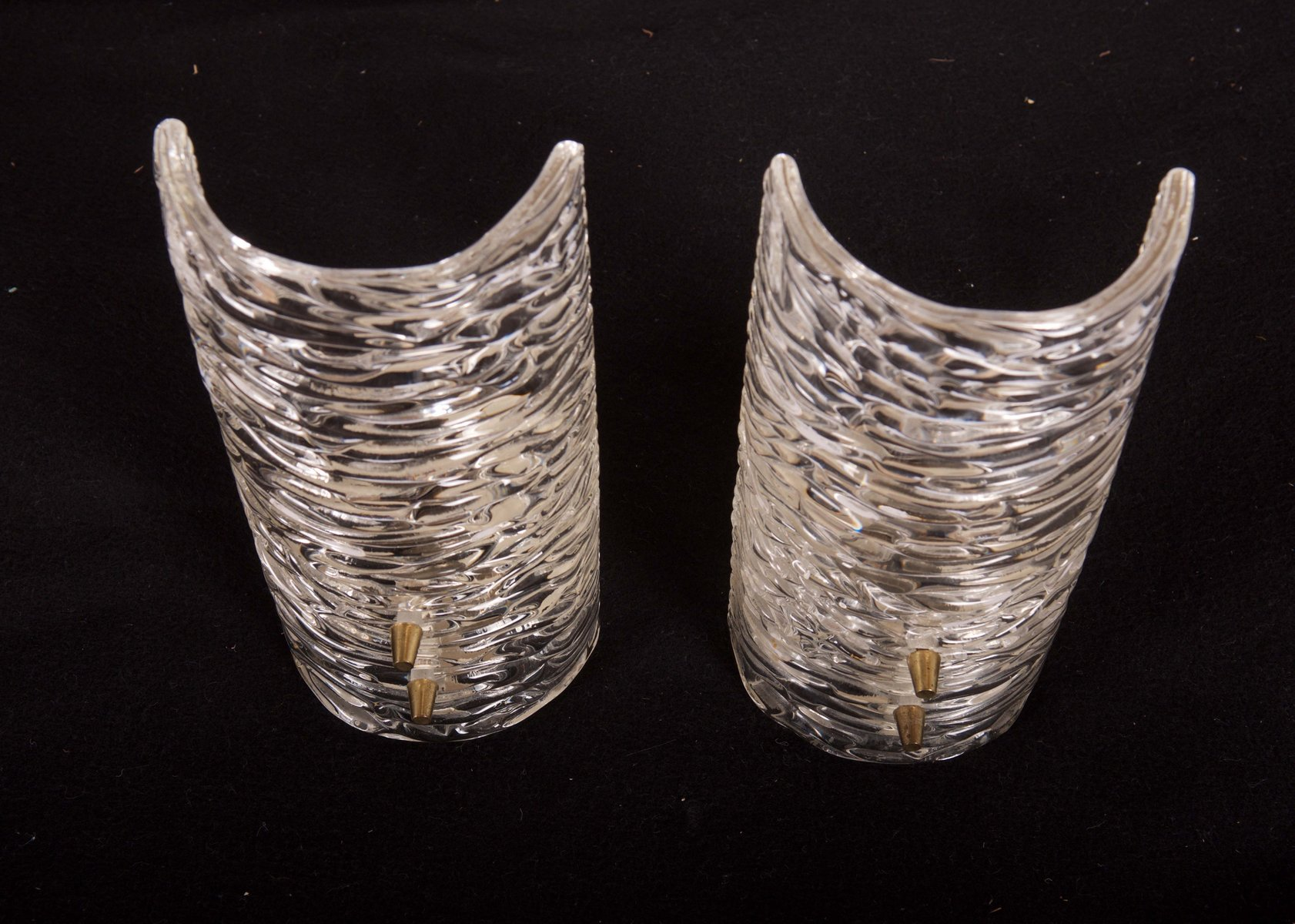 Textured Glass Wall Sconces by J T Kalmar Set of 2 for sale at