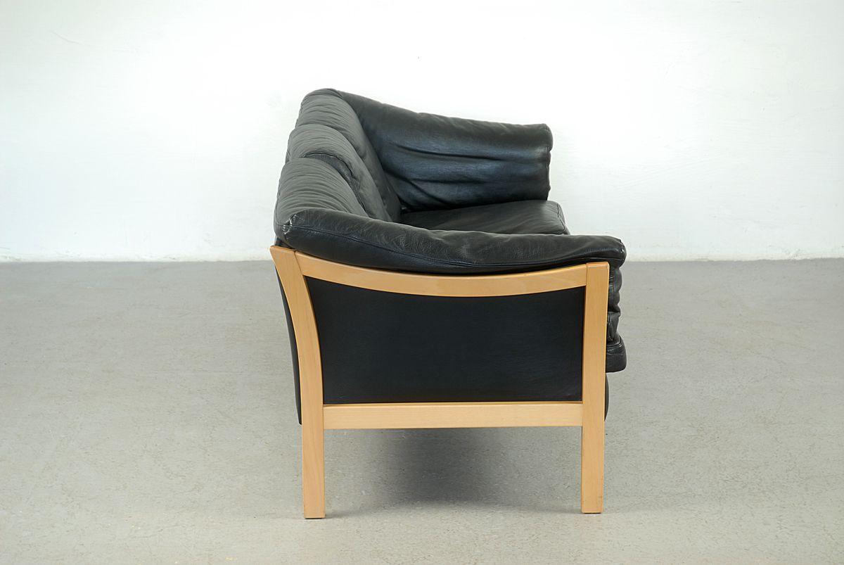 vintage 3 sitzer sofa aus schwarzem leder bei pamono kaufen. Black Bedroom Furniture Sets. Home Design Ideas