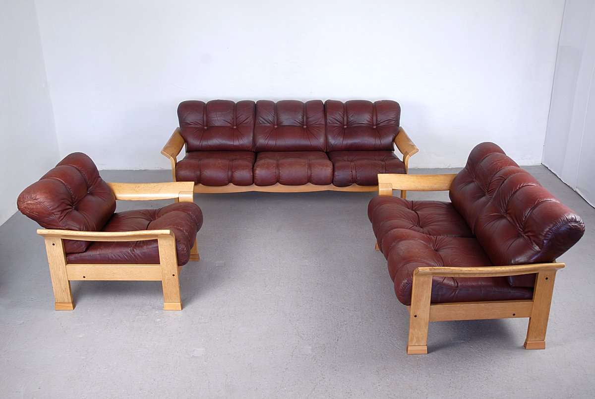 Vintage Danish Brown Leather 3 Piece Sofa Set for sale at Pamono