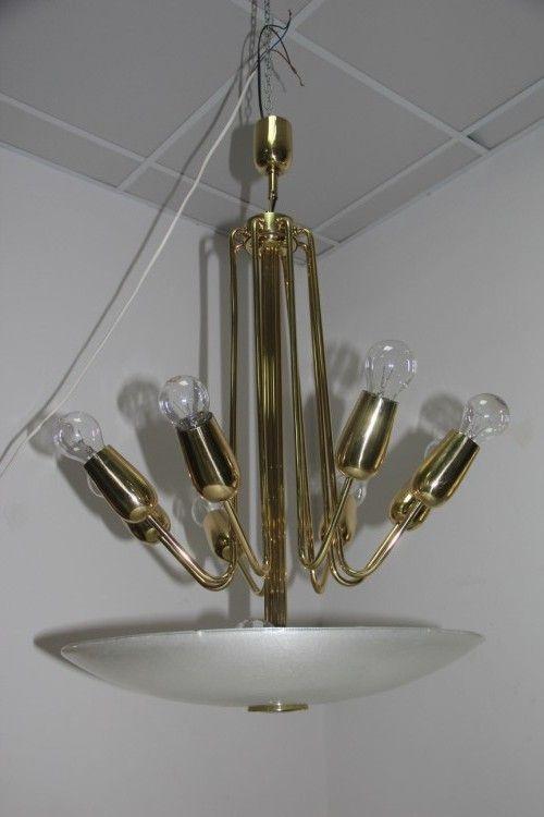 kronleuchter aus messing und pulegoso glas italien bei pamono kaufen. Black Bedroom Furniture Sets. Home Design Ideas