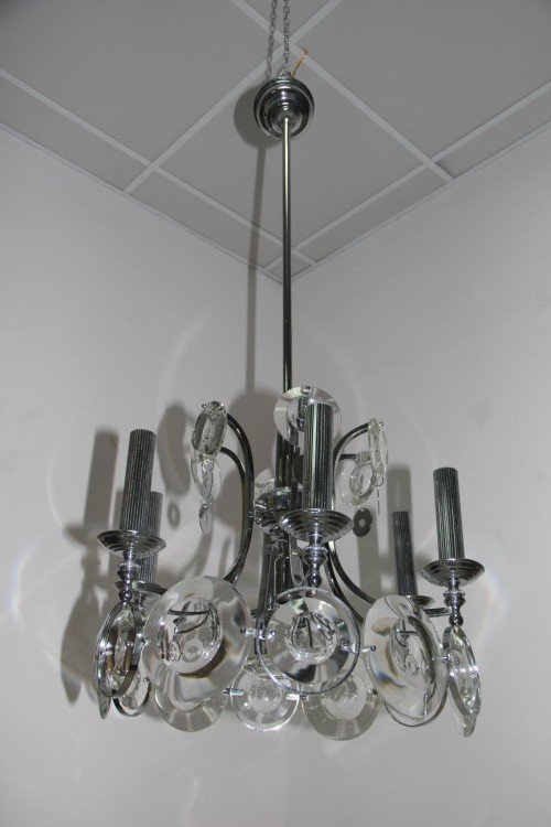 Steel and Crystal Chandelier by Oscar Torlasco for Esperia for ...