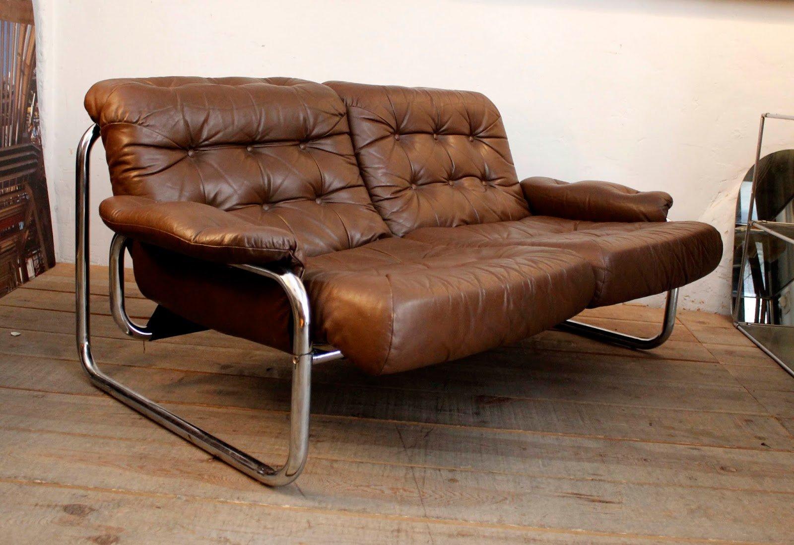 vintage brown leather 2 seater sofa for sale at pamono. Black Bedroom Furniture Sets. Home Design Ideas