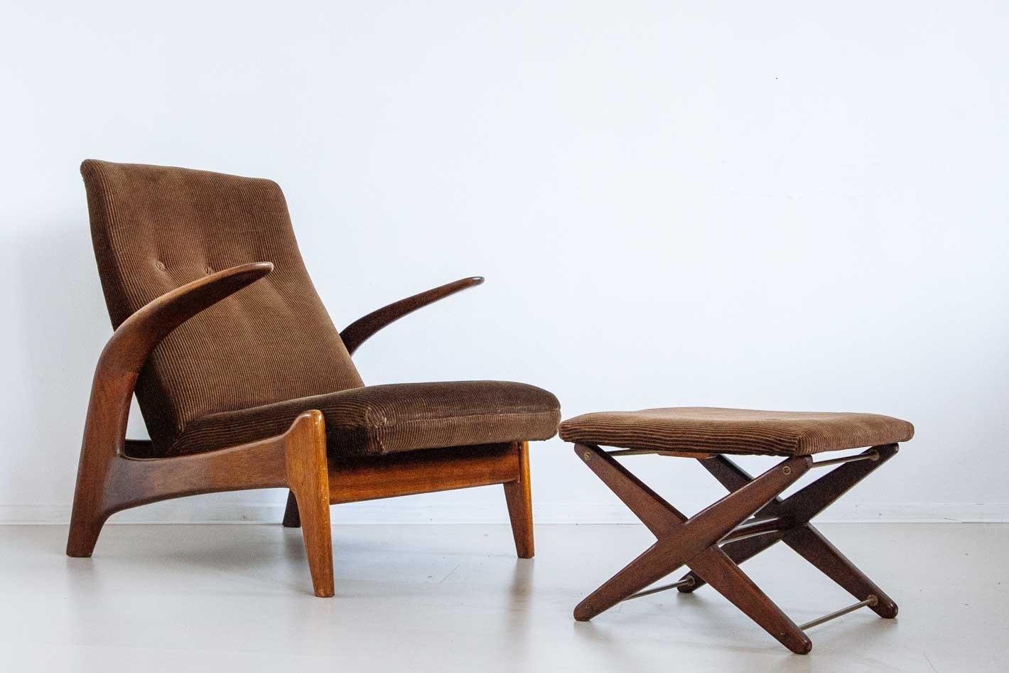 vintage lounge stuhl und fu hocker von gimson slater bei pamono kaufen. Black Bedroom Furniture Sets. Home Design Ideas