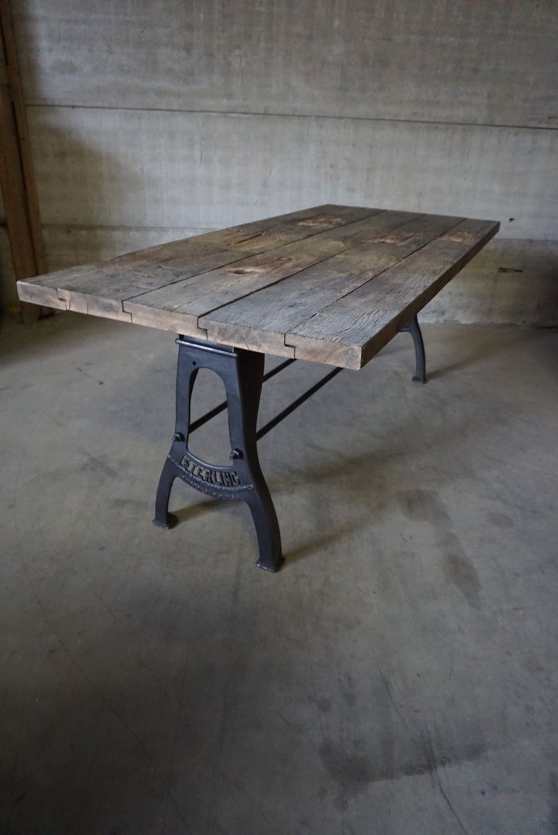 Vintage Industrial Brushed Metal Dining Table For Sale At