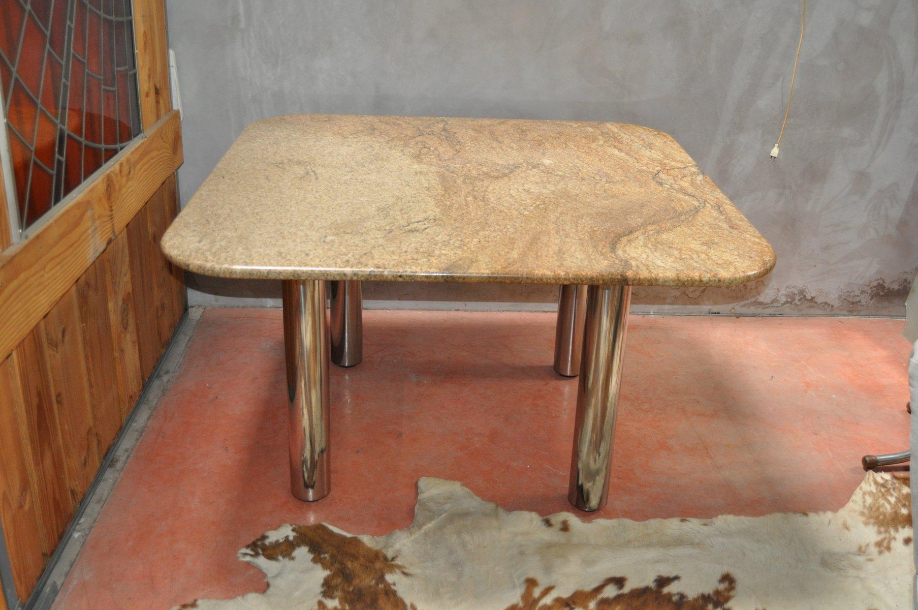 Vintage marcuso esstisch mit marmorplatte von zanotta bei for Esstisch mit marmorplatte