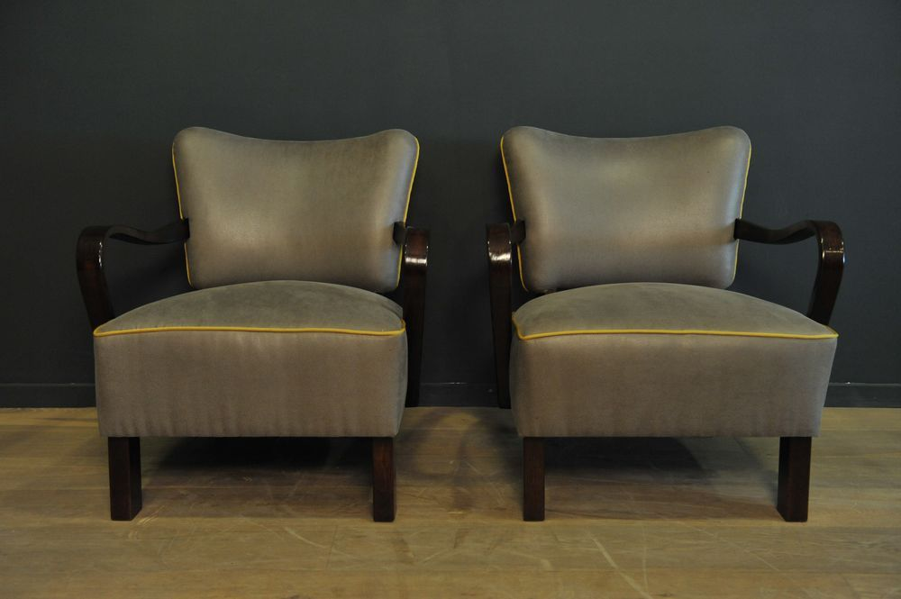 Grey Cocktail Armchairs, 1950s, Set Of 2