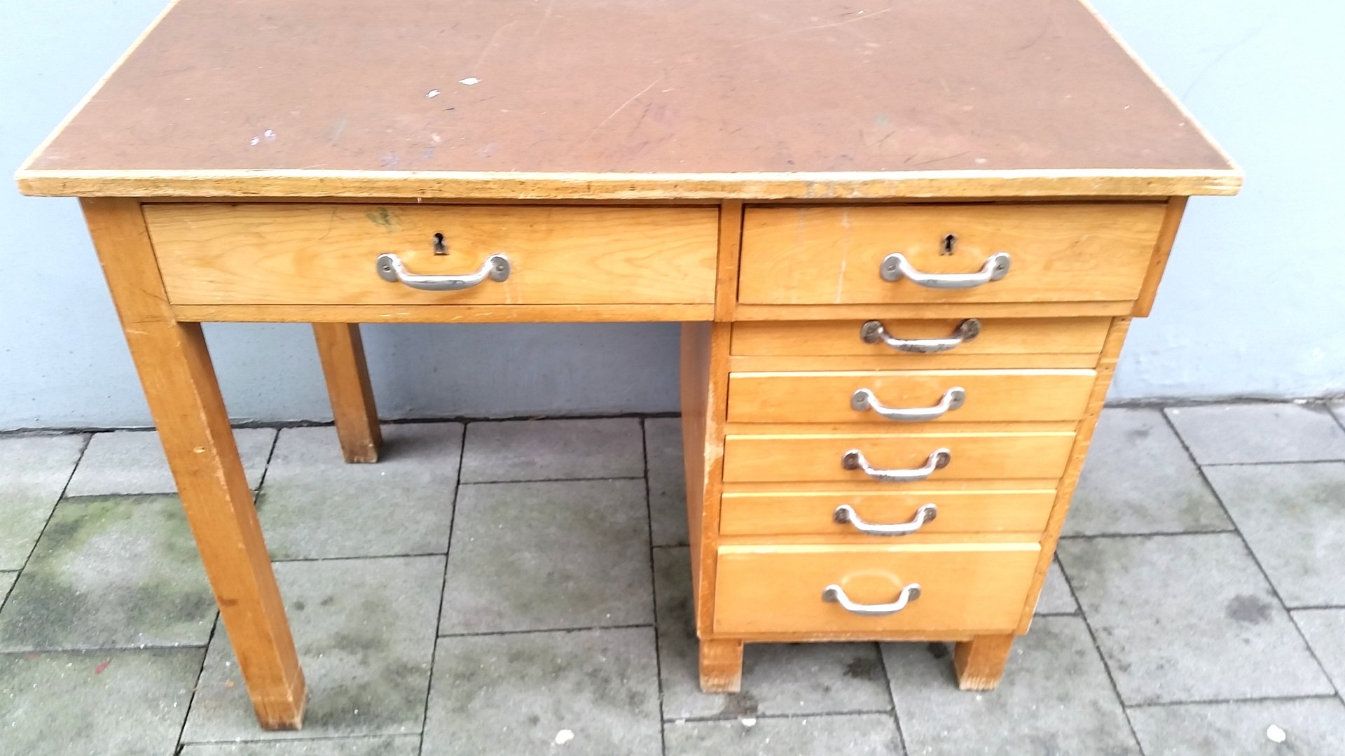 Old Wooden Desk ~ Vintage wooden desk with drawers for sale at pamono