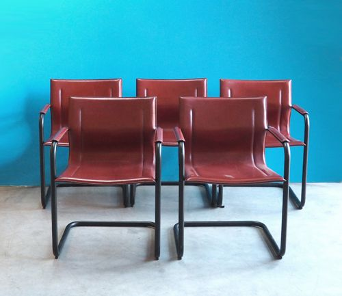 Red leather and black metal dining chairs 1970s set of 5 for Red dining chairs for sale