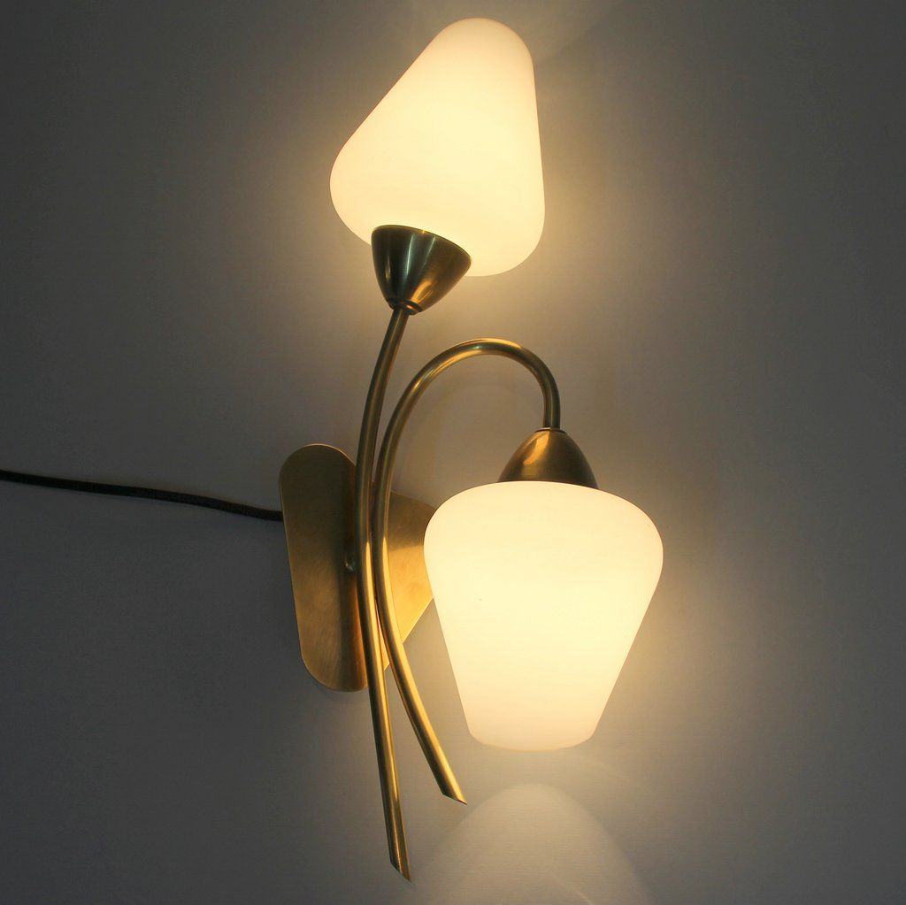 Wall Lamps Brass : Brass & Opaline Glass Wall Lamps from Stilnovo, 1950s, Set of 2 for sale at Pamono
