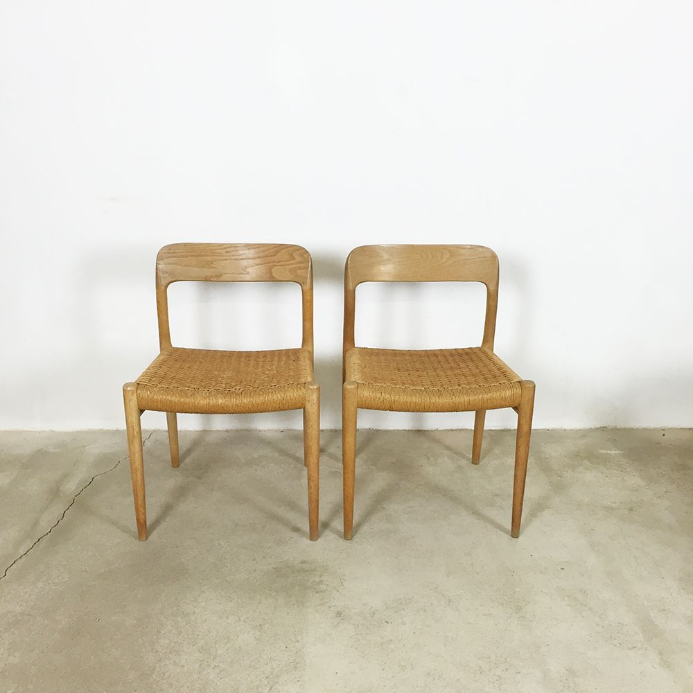No 75 light oak dining chairs by niels o m ller for j l for Light oak dining furniture