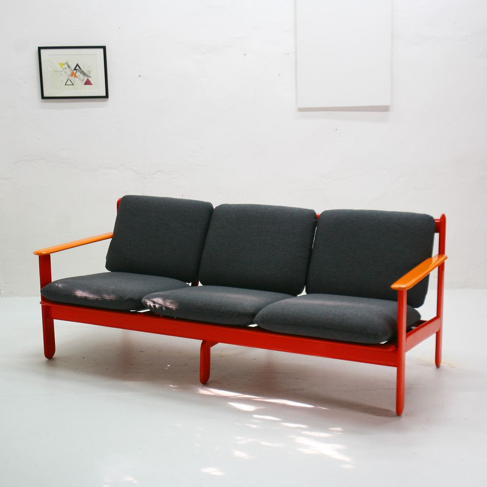 Vintage orange and anthracite 3 seater sofa for sale at pamono for Sofa 7 seater
