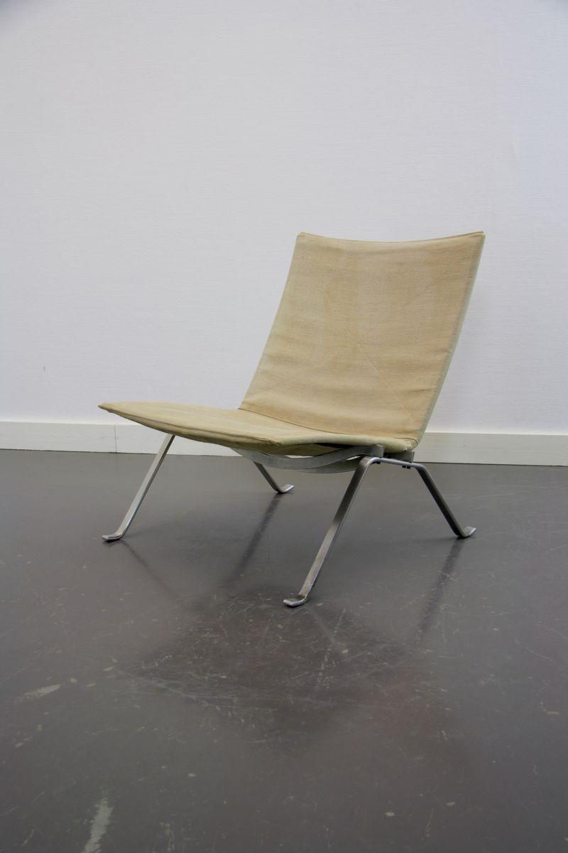 pk22 leinen lounge stuhl von poul kjaerholm f r fritz hansen bei pamono kaufen. Black Bedroom Furniture Sets. Home Design Ideas