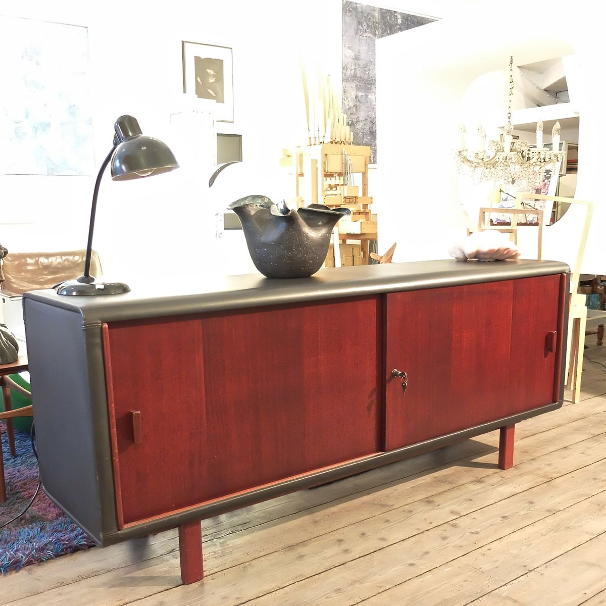 vintage german leather mahagony sideboard for sale at pamono. Black Bedroom Furniture Sets. Home Design Ideas