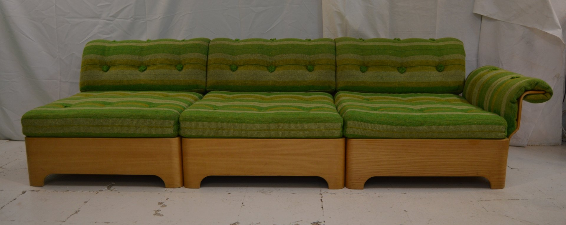 Vintage swedish 3 seater sofa with side table footrest for Sofa 7 seater