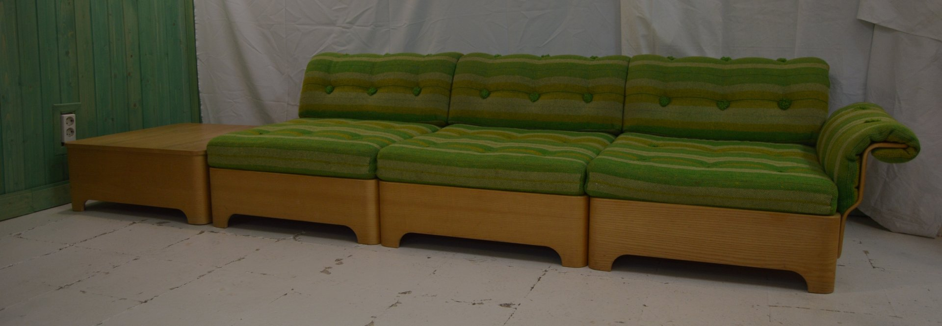 Vintage Swedish 3 Seater Sofa With Side Table Footrest