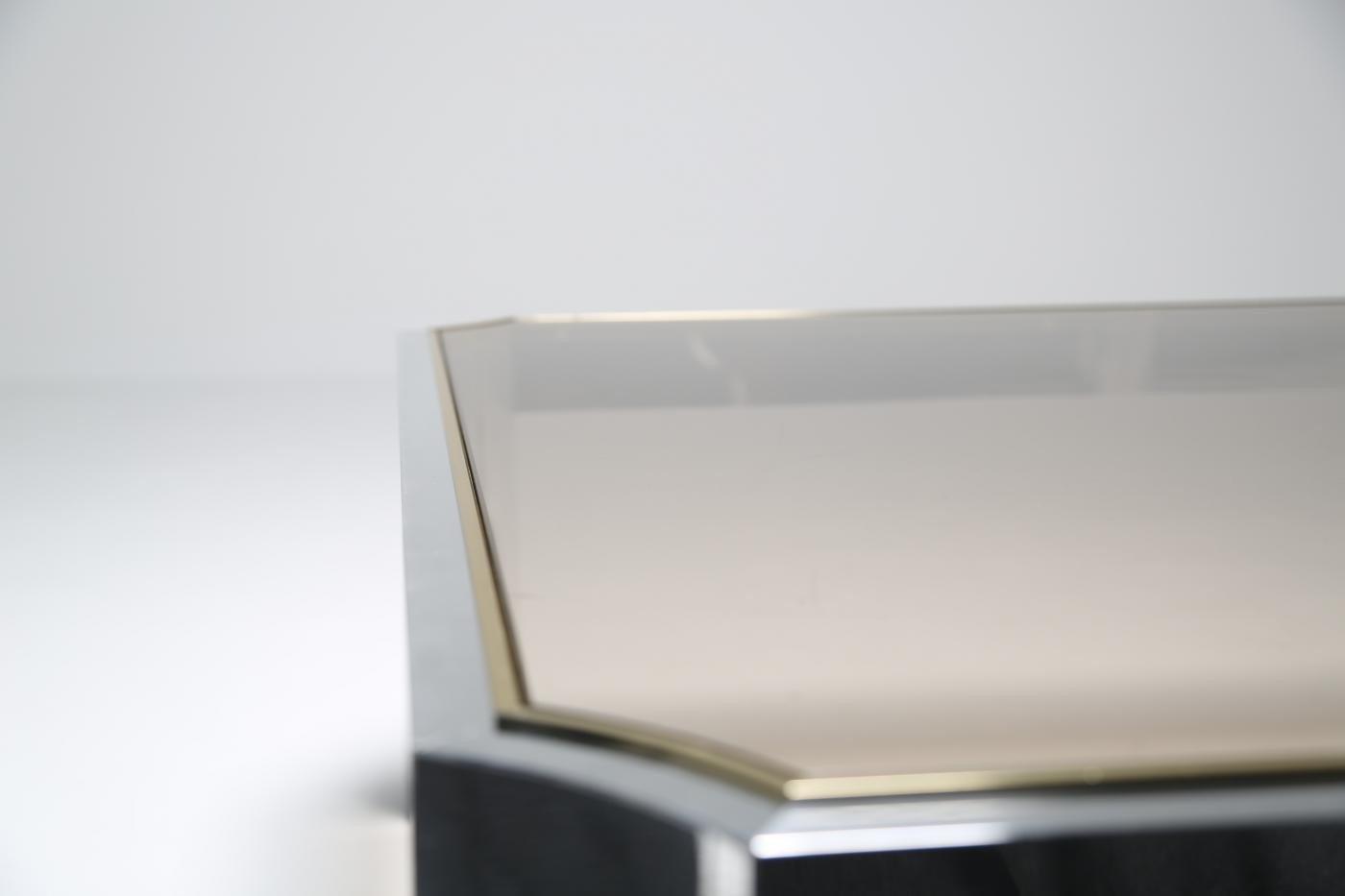Mid Century Glass Coffee Table With Aluminium Base