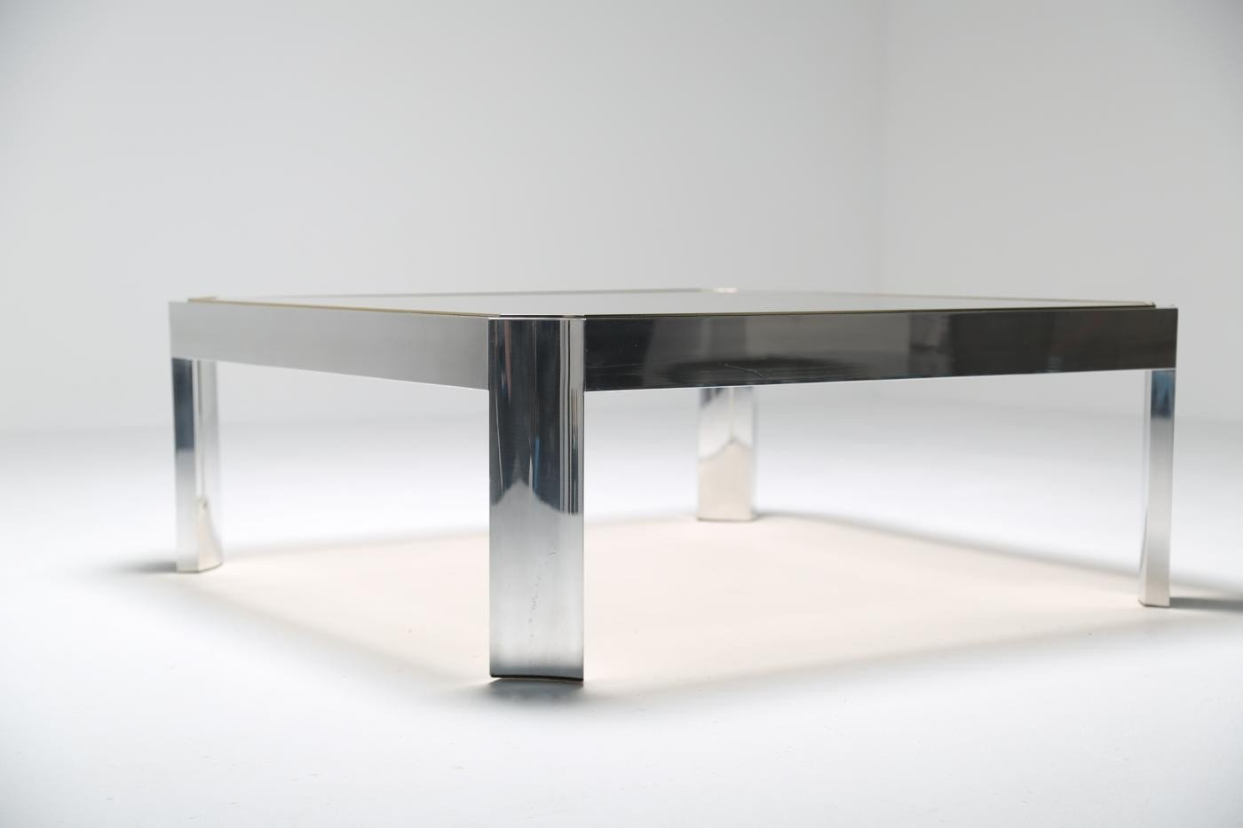 Mid Century Glass Coffee Table With Aluminium Base For Sale At Pamono